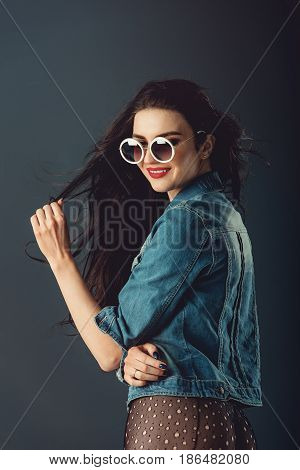Gorgeous Girl With Red Lips White Sunglasses In A Blue Jacket An