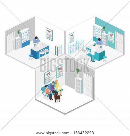Flat 3D Illustration Isometric Interior Of Veterinary Clinic.