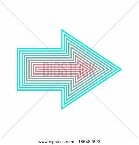 Neon Arrow isolated, from red to turquoise, illustration vector