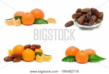 tangerines and figs isolated on white background. Horizontal photo.