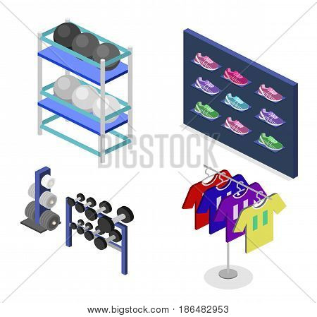 Isometric flat 3D isolated concept vector goods for the sports shop. Stand with sneakers, clothes, baseball swords, dumbbells