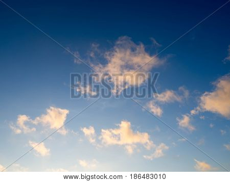 Blue Bright Sky With White Clouds On Sunny Day. The Vast Blue Sky And Clouds Sky.beautiful Backgroun