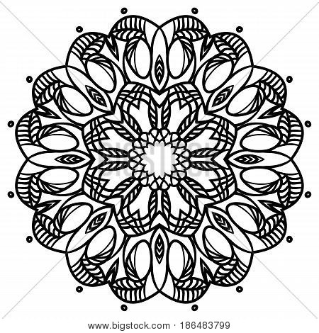 Intricate floral mandala isolated on white background. Gorgeous floral decorative design element. Can be used as template for coloring page. Vector flower illustration