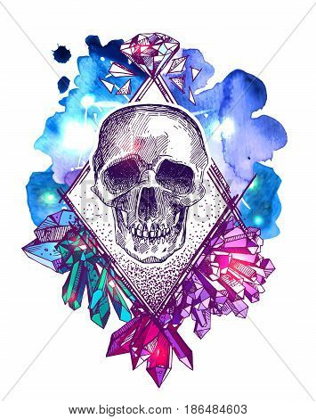 Beautiful hand drawn sketch illustration the skull on the watercolor background. Boho style print for T-shirt. Tattoo style skull.