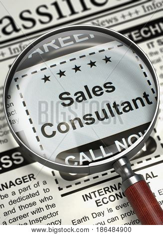 Column in the Newspaper with the Small Ads of Job Search of Sales Consultant. Sales Consultant - Searching Job in Newspaper. Job Search Concept. Blurred Image. 3D Render.