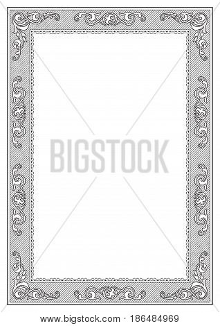 Black rectangular ornate framework, template for title page, page decoration. A4 page proportions.