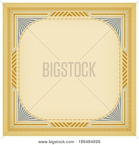 Square framework and background for label, page decoration. Metallic colors. Pattern brushes are included.
