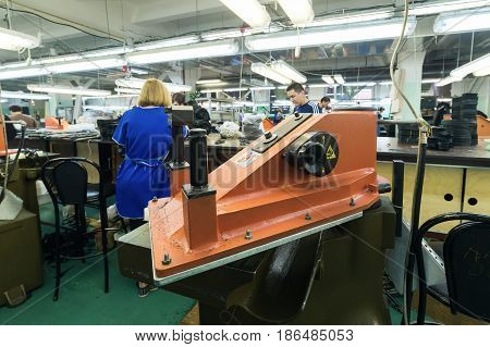 MOSCOW, RUSSIA - FEBRUARY 21, 2017: Moscow shoe factory JSC RALF RINGER. Press for cutting down blanks from leather.