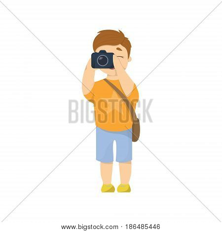 Cartoon kid photographer on white background. Funny cute character.