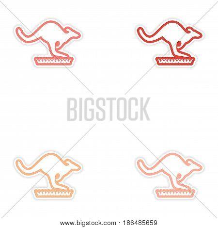 Set of stickers Australian kangaroo on white background