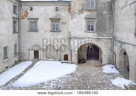 Courtyard of old house in winter