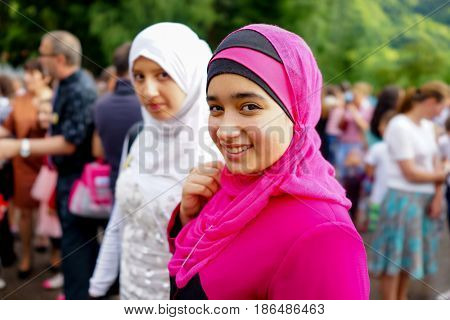 two muslim girls in a prom