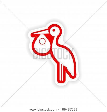 paper sticker on white background Baby and Stork