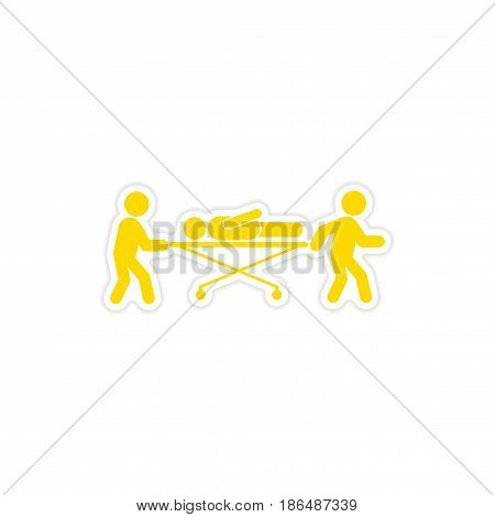 paper sticker patient on stretcher white background