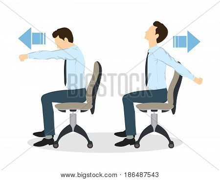 Sport exercises for office. Office yoga for tired employees with chair and table. Shoulder stretching.