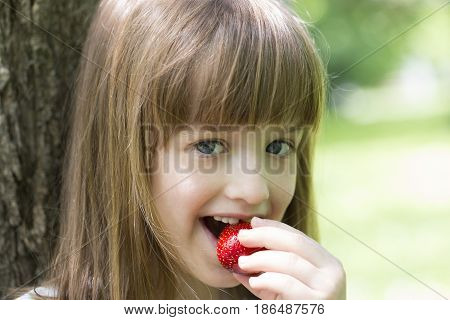 Little Beautiful Girl Eating A Strawberry