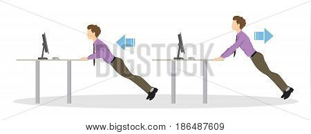 Sport exercises for office. Office yoga for tired employees with chair and table. Arms workout.