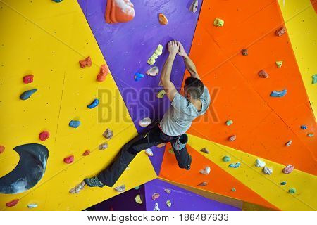Climber On Practice Wall