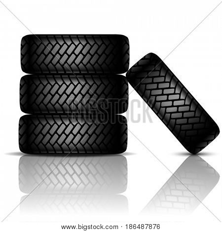 Car Tires isolated on white background. 3D illustration