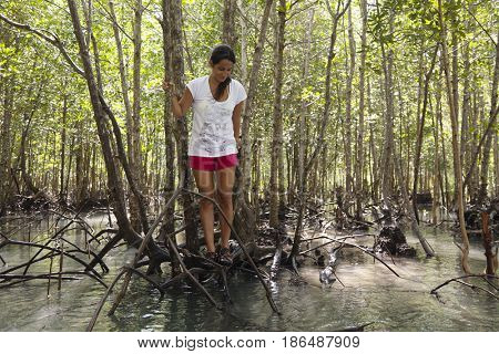 Hispanic woman stranded on tree roots