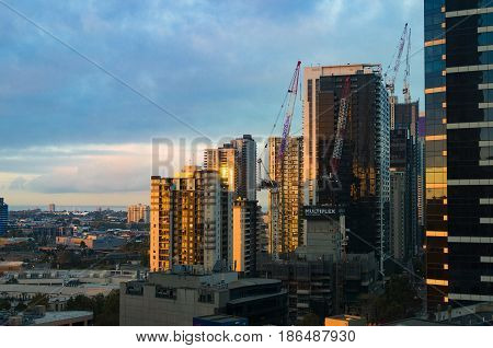 View From Above On Melbourne Cityscape With Building Development Site