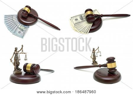 wooden judge hammer money and a statute of justice. White background - horizontal photo.