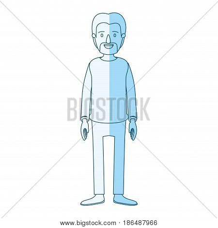 blue silhouette shading cartoon full body male person with beard and moustache with clothing vector illustration
