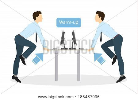 Sport exercises for office. Office yoga for tired employees with chair and table. Warm-up.