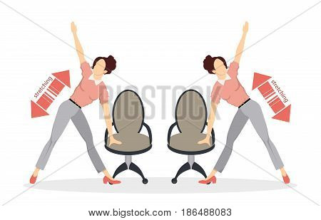 Sport exercises for office. Office yoga for tired employees with chair and table. Stretching.
