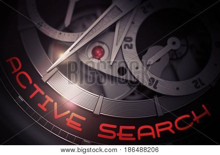 Active Search on the Face of Men Wrist Watch, Chronograph Close View. Luxury Wristwatch with Active Search Inscription on Face. Time and Business Concept with Glowing Light Effect. 3D Rendering.