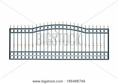 Long section of the fence. Isolated on white background.