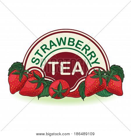Strawberries, label for strawberry tea, canned berries.