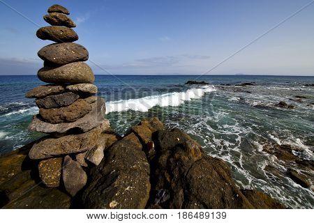 Lanzarote Coastline    Froth  Spain Pond  Rock  Water