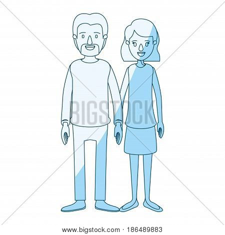 blue silhouette shading cartoon full body couple woman with wavy short hair in skirt and man in casual clothing vector illustration