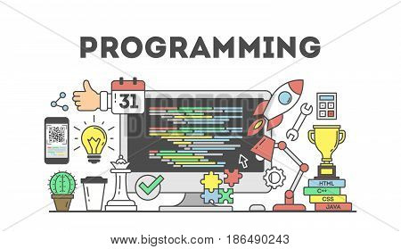 Programming concept illustration. Signs and icons on white background.