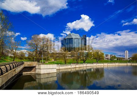Belarus Minsk: 11 May 2017; National Library of Belarus panoramic view of the building is the main universal scientific library a symbol of Belarusian culture and science editorial