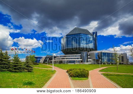 Belarus Minsk May 11 2017: National Library of Belarus panoramic view of the building is the main universal scientific library a symbol of Belarusian culture and science editorial