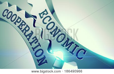 Text Economic Cooperation on Metal Cogwheels - Communication Concept. Economic Cooperation on Mechanism of Metallic Cogwheels with Glowing Light Effect - Business Concept. 3D Render .