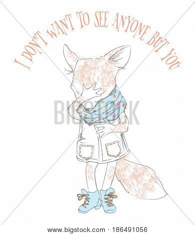 Vector illustration of pretty little fox isolated on white background. Fashionably dressed cartoon sketch style cute fox with playful emotions. Best for T shirt print or greeting card