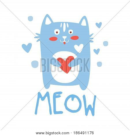 Cute cartoon cat with heart. Meow colorful hand drawn vector Illustration isolated on a white background