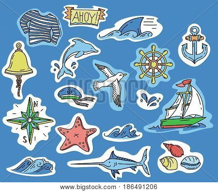 hand-drawn stickers with simple elements of marine theme