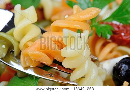 Fork with colorful pasta and olive cheese and parsley close-up