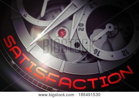 Satisfaction - Black and White Up Close of Watch Mechanism. Satisfaction on the Face of Old Pocket Watch, Chronograph Closeup. Work Concept Illustration with Glow Effect and Lens Flare. 3D Rendering.