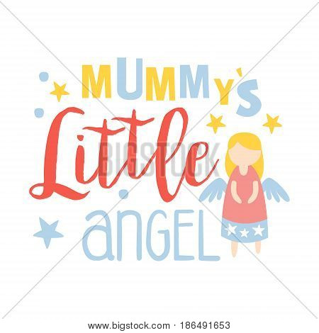 Little mummys angel, colorful hand drawn vector Illustration isolated on a white background