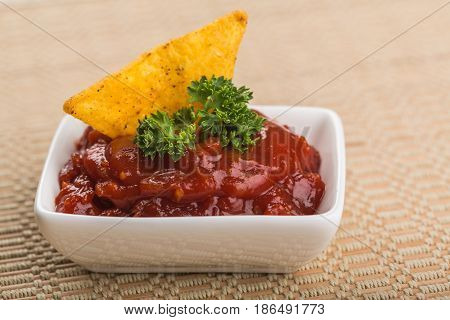 Salsa Sauce in a Bowl with a Single Nachos Crisp