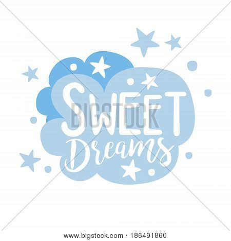 Cute light blue cartoon cloud. Sweet dreams colorful hand drawn vector Illustration isolated on a white background