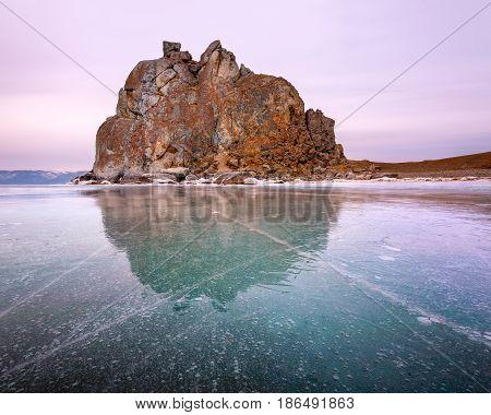 Shamanka Sacred Rock on Olkhon Island Baikal Lake Russia