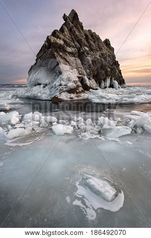 Baikal Lake Ice and Island Elenka at Sunset Baikal Lake Russia