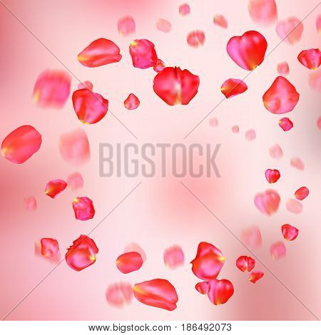 A lot of falling red rose petals on pink background. Vector illustration. Round shape. Frame or border - template for greeting card or wedding invitation