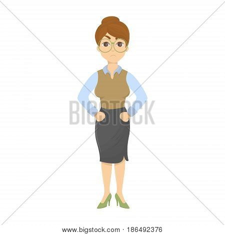 Isolated angry teacher with stick on white background.